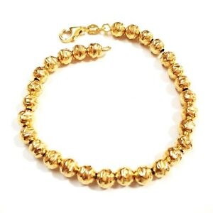 14kt-Gold-Filled-6mm-Hammered-Beads-BRACELET-ANKLET-Alternative-to-Gold