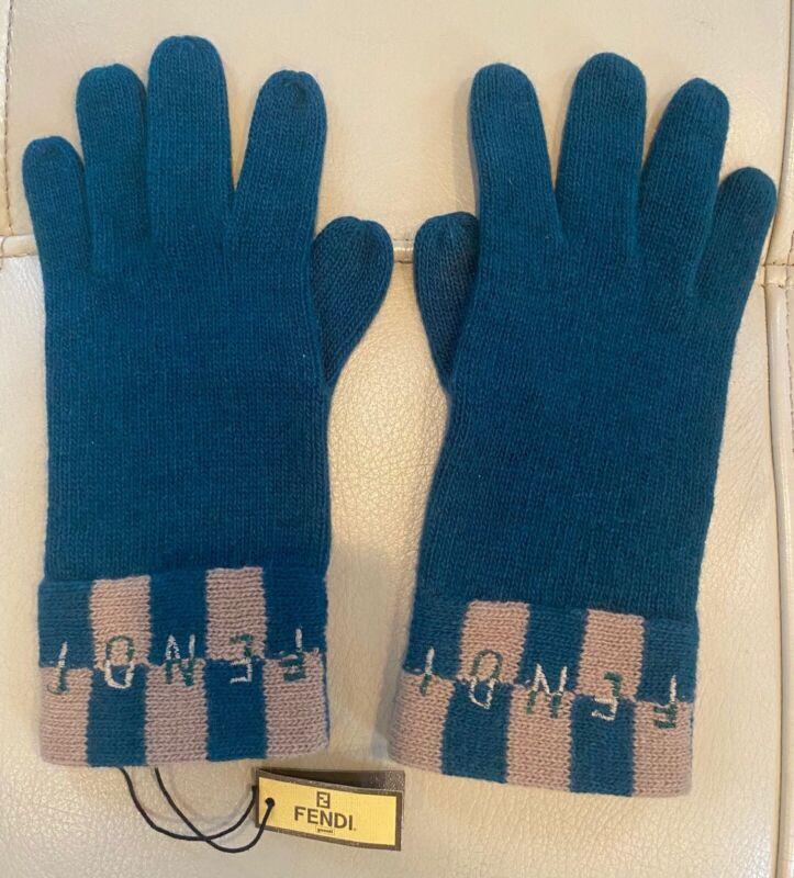 New Fendi 100% Authentic Zucca Ff Logo Knit Gloves Angora Wool Green Beige Italy