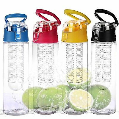 800ML Fruit Infusing Infuser Water Sports Health Lemon Juice Bottle Flip Lid New