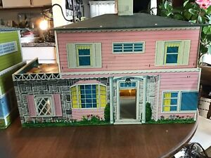 Vintage 1950 S Toy Metal Doll House Tin Litho Furniture Box Ebay