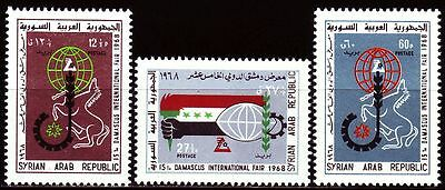 Mittlerer Osten Syrien Syria 1968 ** Mi.1026/28 Messe Fair Pferd Horse Globus Globe Briefmarken