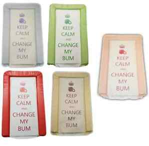 KEEP CALM & CHANGE MY BUM SOFT PADDED DELUXE BABY NAPPY CHANGING MAT WIPE CLEAN