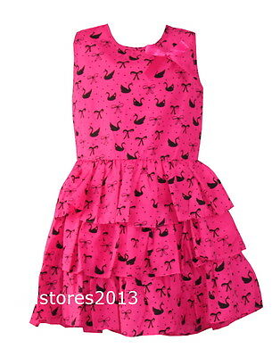 Girls Summer Party New Kids Dress with Ruffle Bow Age 2 4 6 8 10 years AF223