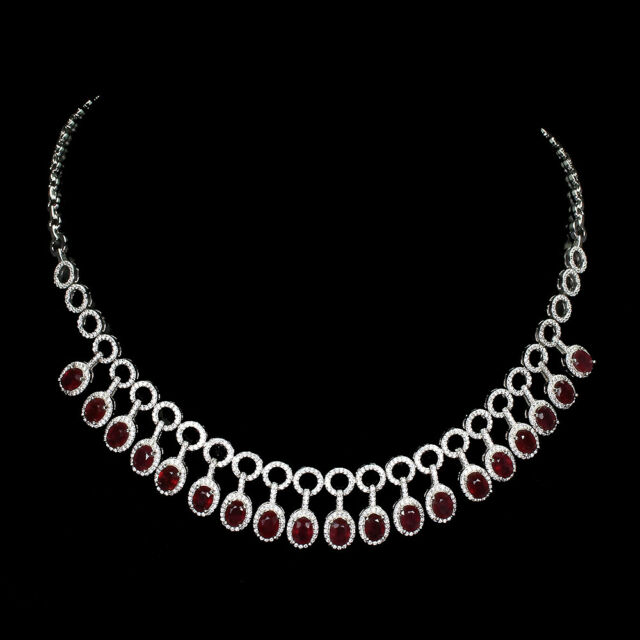 Oval Red Ruby 7x5mm Cz 14K White Gold Plate 925 Sterling Silver Necklace 19 Inch