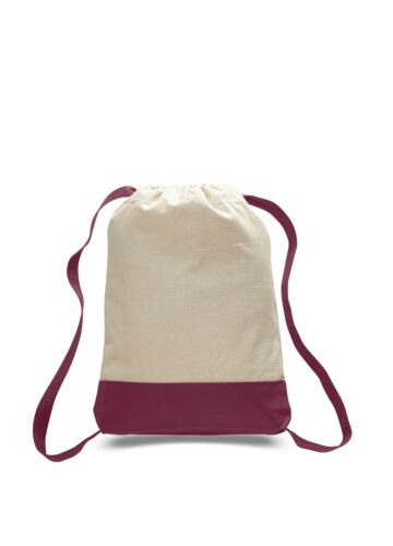 CANVAS TWO 2 TONE SPORT BACK PACK SCHOOL RUCK SACK NATURAL ECO FRIENDLY COTTON
