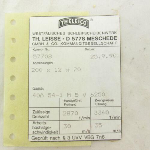 Schleifscheibe Theleico 200 x 12 x 20; 40A 54-1 M 5 V 6250