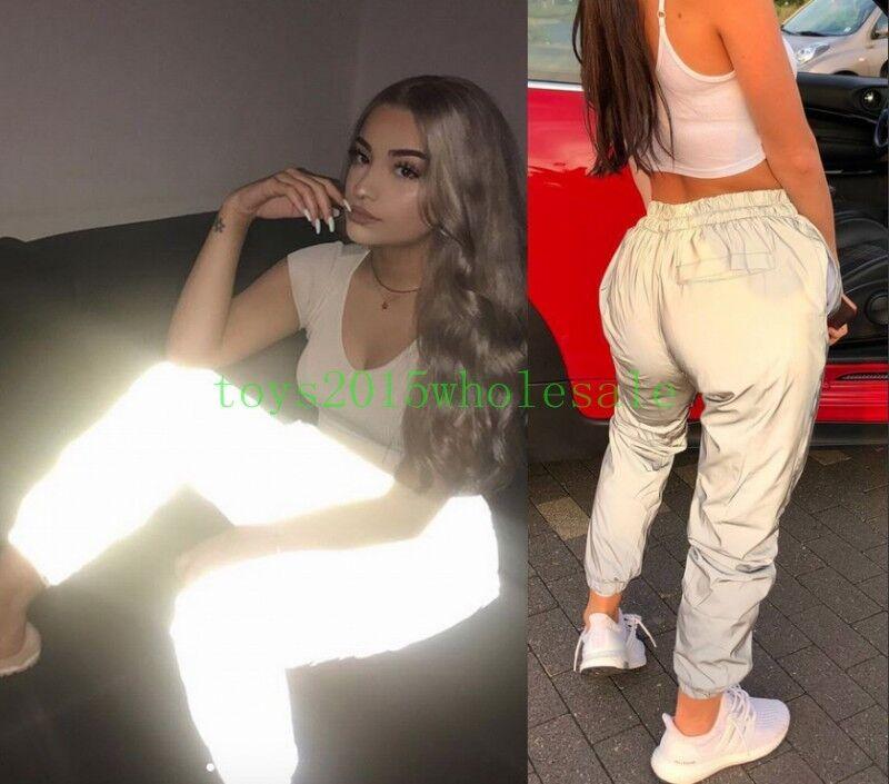 Ins 2018 Hot Women Reflective trousers Bf Jogging Dance Hip Hop Legging Pants UK