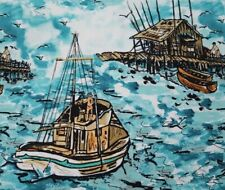 Sea Fishing BTY Alice Hickey FreeSpirit Ocean Fishermen Wave Birds Lt Teal Green