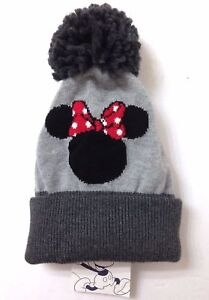 30 Baby Gap Girls MINNIE MOUSE POM BEANIE Plush Gray Disney Winter ... b1fa64588069