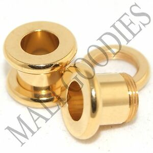 1489-Screw-on-fit-Steel-Anodized-Gold-Tunnels-Earlets-Ear-Plugs-2-Gauge-2G-6mm