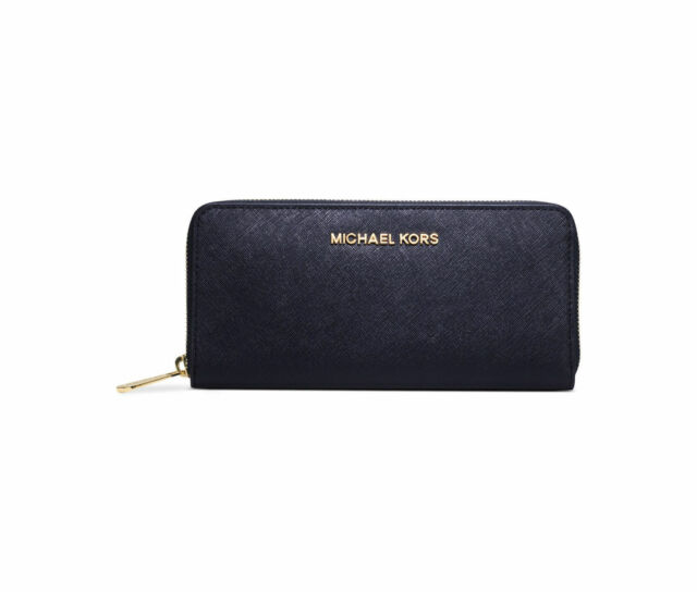 23226afa6028 NWT MICHAEL KORS Jet Set Travel Zip Around NAVY Gold Saffiano Leather Wallet