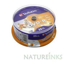 25 Verbatim DVD-R 16x 4.7GB 120 mins White Printable Blank discs AZO 43538 CB