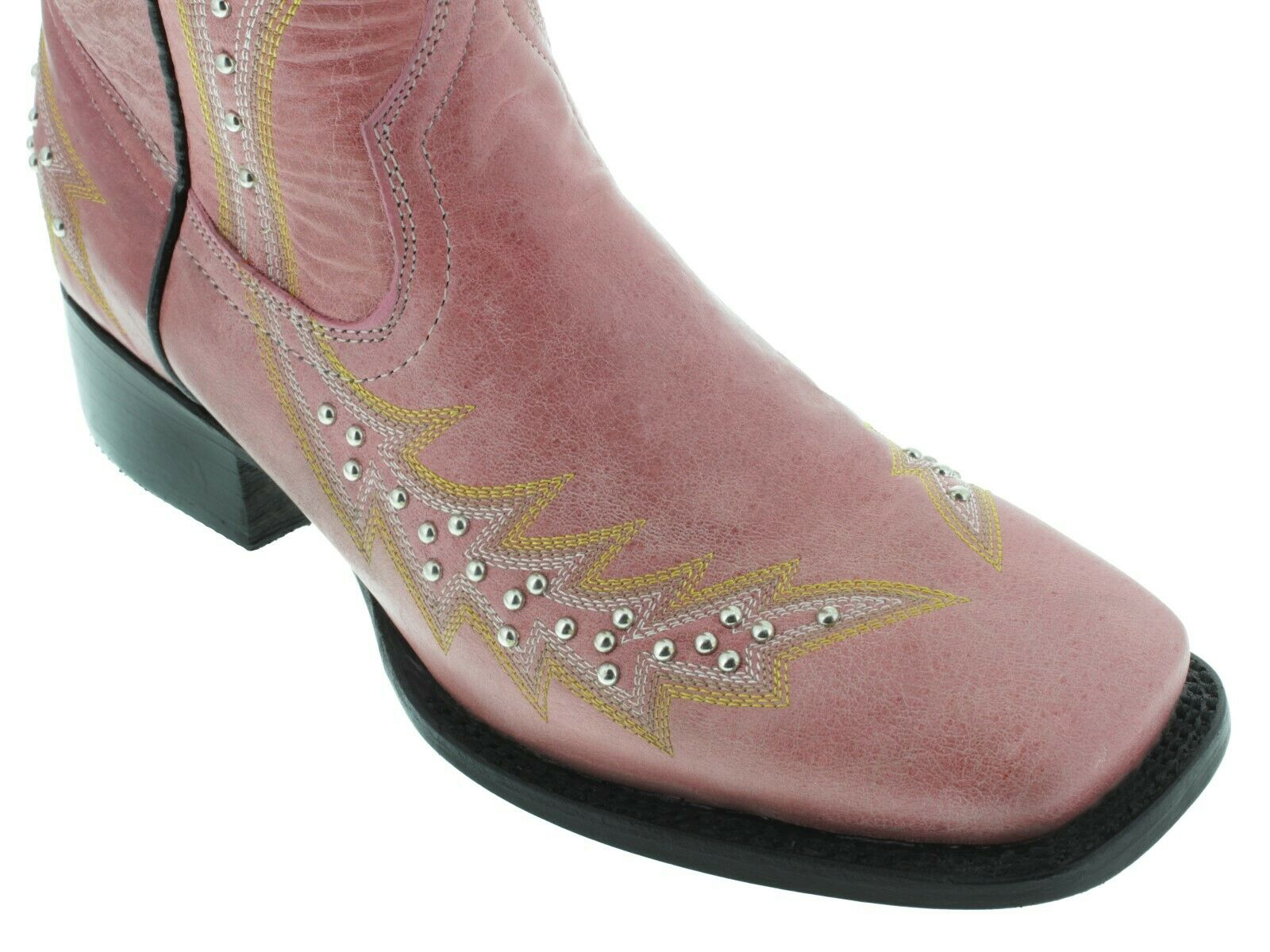 Womens Pink Western Cowgirl Boots Silver Studded Embroidered Embroidered Embroidered Square Toe 5739e3