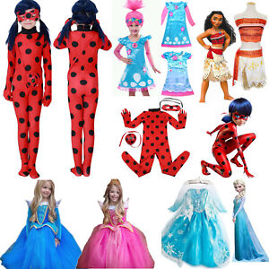 Kids Costume Disney Moana Princess Anna Elsa Ladybug Girls Fancy Dress Outfits