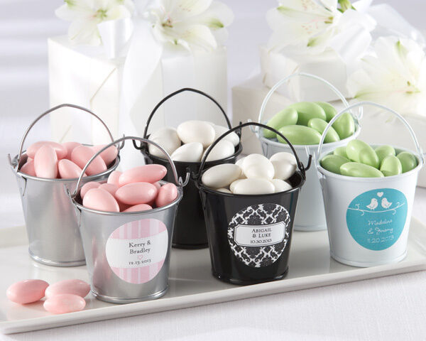 50 x BLACK Mini Tin Pails Buckets Wedding Bombonieres Favours