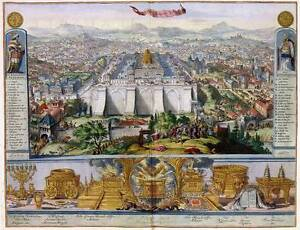 Jesus-in-Jerusalem-amp-its-Temple-Birds-eye-View-Old-Color-Colour-Map-Plan-Poster