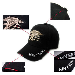 Outdoor US Military Hunting Embroidered Navy Seal Hat Baseball Cap Sunhat Black