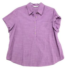 Riders-by-Lee-POPOVER-Short-Tab-Sleeve-Blouse-Womens-Sz-1X-Purple-Tunic-Pocket