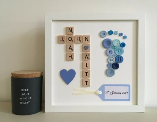 d Scrabble Art Picture Frame Personalised 2//3//4 Names Baby Button Foot Print