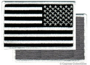 AMERICAN-FLAG-EMBROIDERED-PATCH-BLACK-WHITE-USA-LEFT-w-VELCRO-Brand-Fastener