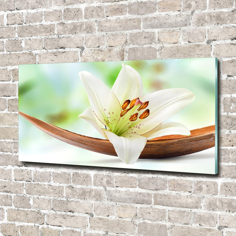 Acrylglas-Bild Wandbilder Druck 140x70 Deko Blaumen & Pflanzen Lilie