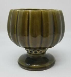 Vintage-Mid-Century-McCoy-Floraline-Pottery-Pedestal-Planter-Olive-Green-491