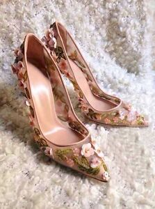 Womens-Wedding-Floral-Breatheable-High-Heels-Pointed-Toe-Mesh-Pumps-Dress-Shoes