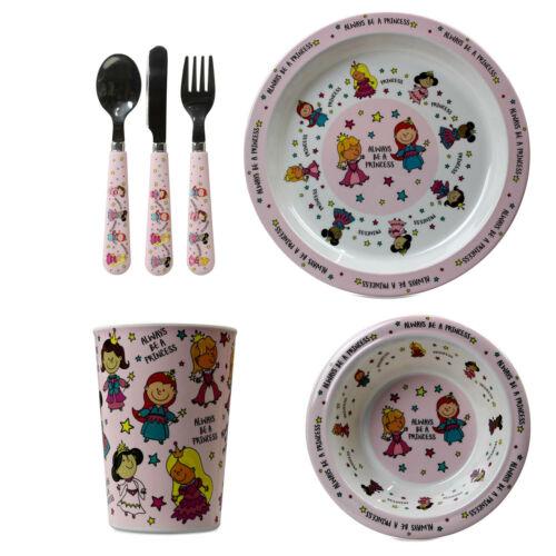 6pcs Princesse Disney Design Petit Déjeuner Dîner Cuisine Couverts Set tasse assiette bol