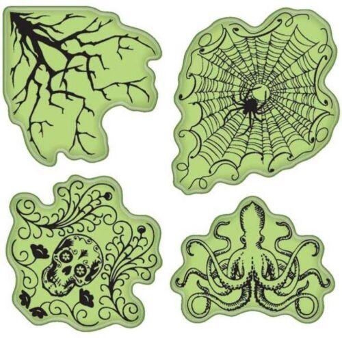 Inkadinkado Skull Spider Halloween Haunts Inspired Images Set Cling Rubber Stamp