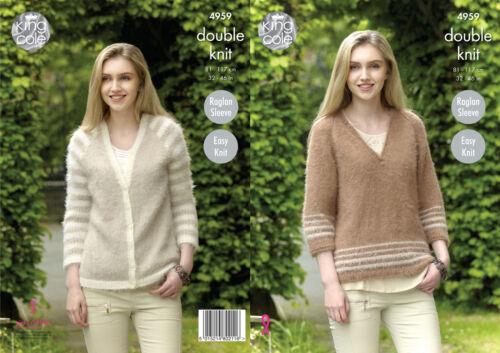 King Cole Ladies Easy Knit Double Knitting Pattern Raglan Sweater Cardigan 4959
