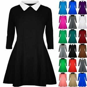Plus-Size-Ladies-Women-Peter-Pan-Collar-Maternity-Skater-Flared-Mini-Swing-Dress