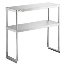 Double Deck Overshelf Two Tier Commercial Shelf Stainless Steel Multiple Sizes