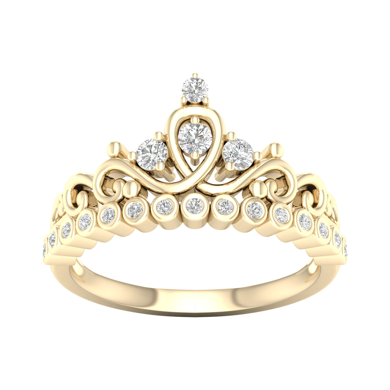 10k Yellow gold 1 4ct TDW Diamond Crown Ring