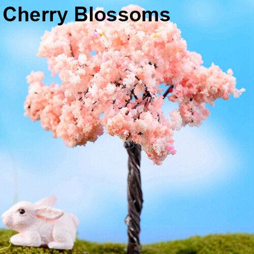 UK/_ EG/_ Miniature Sakura Plum Willow Tree Plants Fairy Garden Dollhouse Ornament