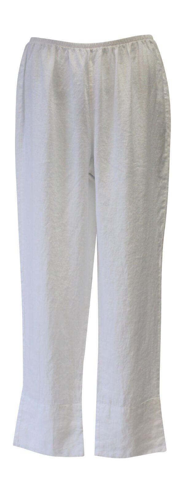 Flax Designs  Relaxed Roll-Up Pant   NWT  Weiß Linen  Größe  Medium