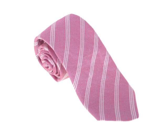 Kiton Napoli Mens Silver Red /& White Striped Seven Fold Handmade Silk Necktie