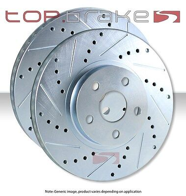 REAR Performance Cross Drilled Slotted Brake Disc Rotors TB3256