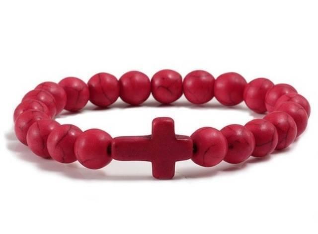 Charm Natural Stone Bracelet Cross Black Lava Matte Beaded Bracelets Handmade