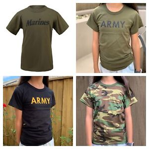 Boys-Girls-Kids-Teens-Army-Military-Training-Scout-Camp-Outdoor-Camo-T-Shirt-Tee