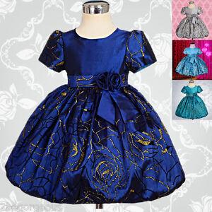 Flower-Girl-Bubble-Floral-Dress-Wedding-Bridesmaid-Party-Age-6m-4y-FG154