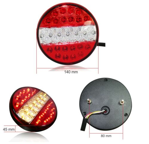 2x Pair 12v Rear Led Lights Stop Tail Indicator 3 Function Tractor Lorry Trailer