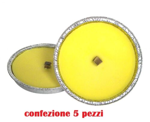 Set 5 Pezzi Candela Citronella In Alluminio Diametro 20cm Antizanzare moc