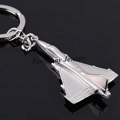 Metal F16 Fighter Plane Keychain Cool Battleplane Keyring For Military Fan 10pcs