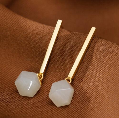 F02 Ohrring Silber 925 vergoldet Stab geometrische Form aus weißer Jade