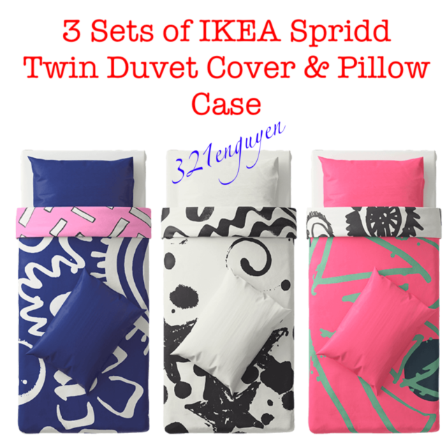 3 SETS of IKEA SPRIDD Twin Size Quilt Duvet Cover and Pillowcase Lot of 3