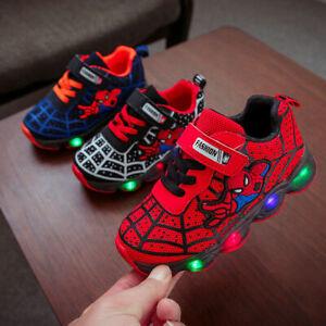 Bambini-Spiderman-LED-Allenatori-Flashing-Luce-Up-Scarpe-Sportive-Glowing