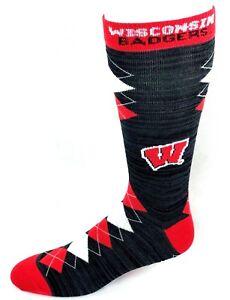 Wisconsin-Badgers-NCAA-Black-RMC-Red-White-Fan-Nation-Crew-Socks