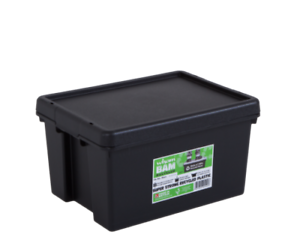 3 X 24 LITRE HEAVY DUTY PLASTIC STORAGE BOX BLACK RECYCLED PLASTIC SUPER STONG