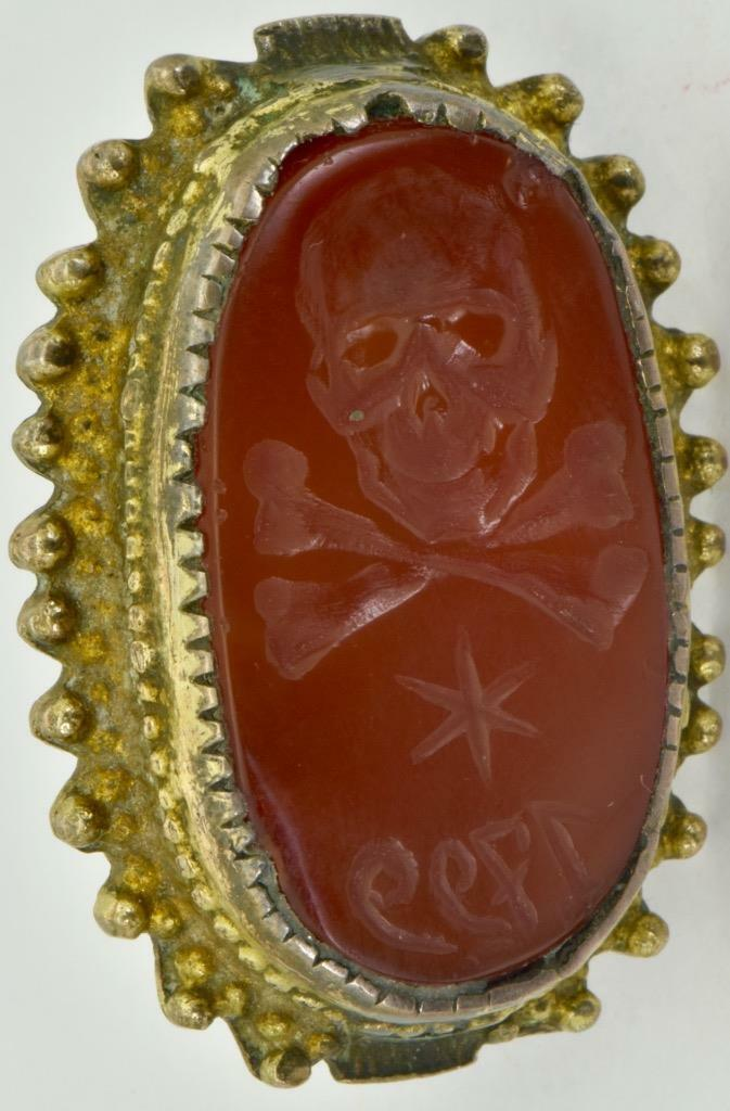 MUSEUM Georgian Occultist Masonic Memento Mori Skull Carnelian seal ring c1799
