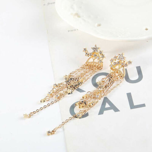 Shooting Star Rhinestone Long Tassels Drop Hook Dangle Earrings Gold Silver New